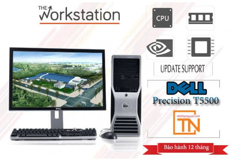 Máy trạm Dell Precision T5500 2 Xeon x5680, 48g, ssd 240g -1T, GTX 1060