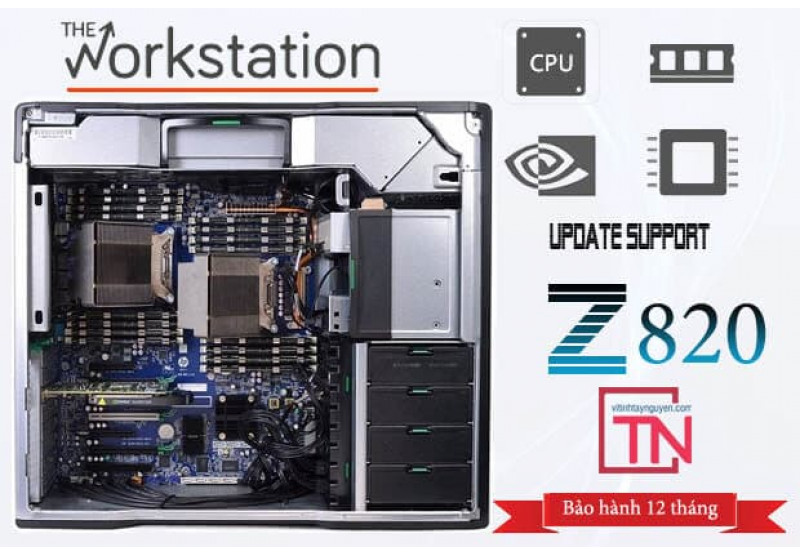Máy trạm HP Z820 Workstation 2 Xeon  Eight E5 - 2680/ 32g /ssd 256g- 1Tb/ Quadro 6000